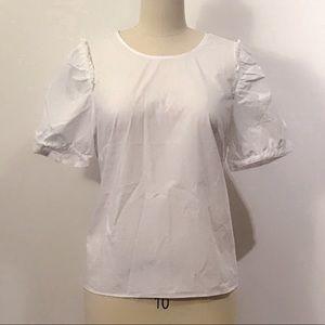 J. Crew white puff sleeve blouse